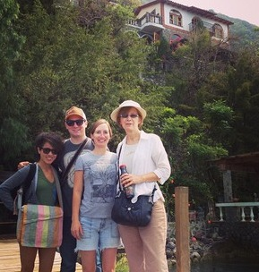 In front of our cliffside hotel in Lake Atitlan, Casa del Mundo (pronounced Case-uh del Moonday by my dad)